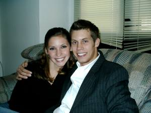 My wife, Erica, and I at her old college house